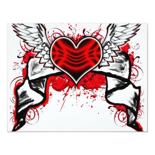 Corazón con las alas invitación 10,8 x 13,9 cm