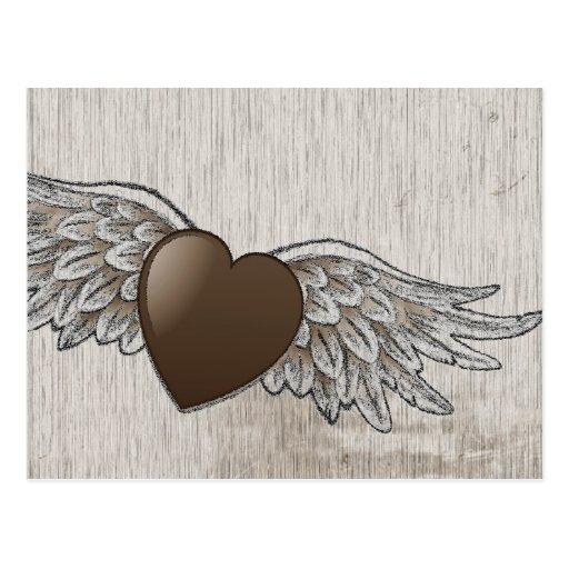 Corazón con las alas postal