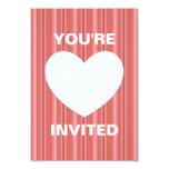 Corazón con las rayas invitación 8,9 x 12,7 cm