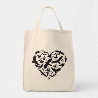 Corazón con los pájaros de vuelo bolsa tela para la compra