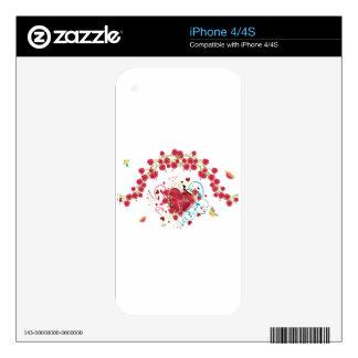Corazón con los rosas 2 iPhone 4S skins