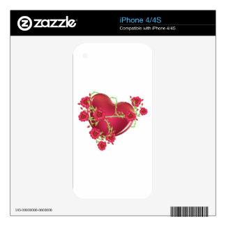 Corazón con los rosas skins para iPhone 4