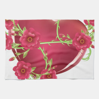 Corazón con los rosas toallas