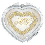 Corazón con monograma 3 del oro y del cobre - espejos para el bolso