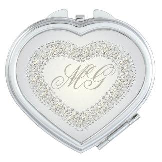 Corazón con monograma 5 del oro blanco - espejo espejos compactos
