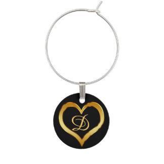 Corazón con monograma del oro identificador de copa