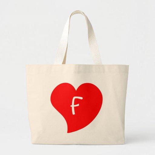 Corazón con monograma rojo Curvy Bolsa De Mano