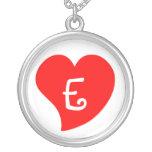 Corazón con monograma rojo Curvy Joyería