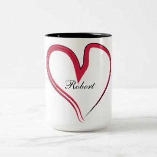 Corazón con nombre adaptable taza de dos tonos