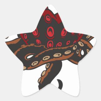 Corazón con tentáculos pegatina en forma de estrella