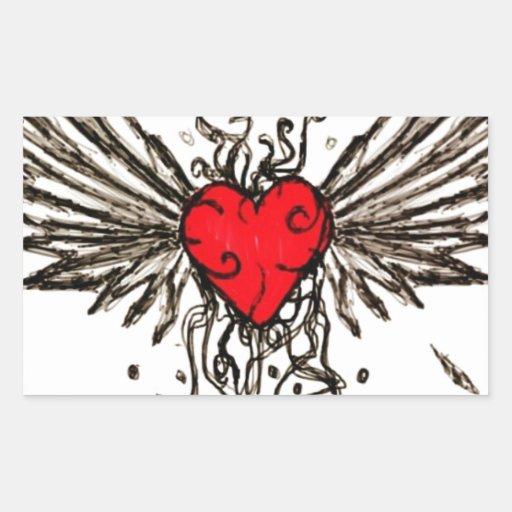 Corazón con Wingz Pegatina Rectangular