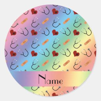 Corazón conocido de encargo del vendaje del pegatina redonda