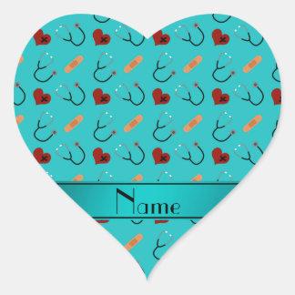 Corazón conocido de encargo del vendaje del pegatina en forma de corazón