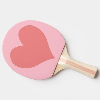 Corazón coralino rosado y ligero pala de tenis de mesa