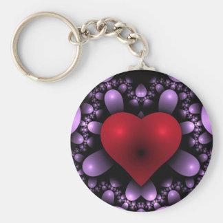 Corazón/corazones rojos de la tarjeta del día de S Llavero Redondo Tipo Pin