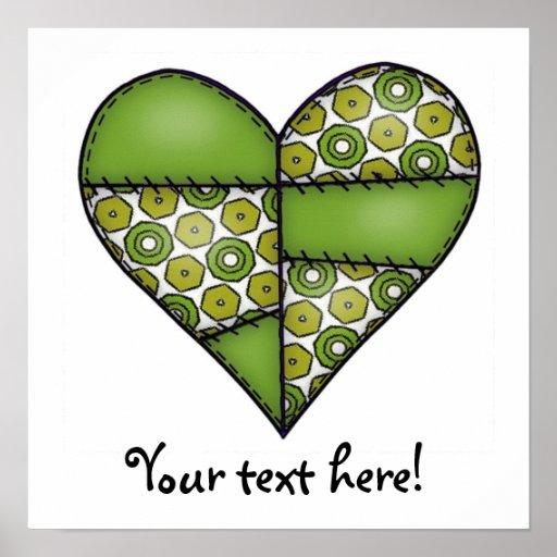 Corazón cosido acolchado rellenado Green-09 Póster