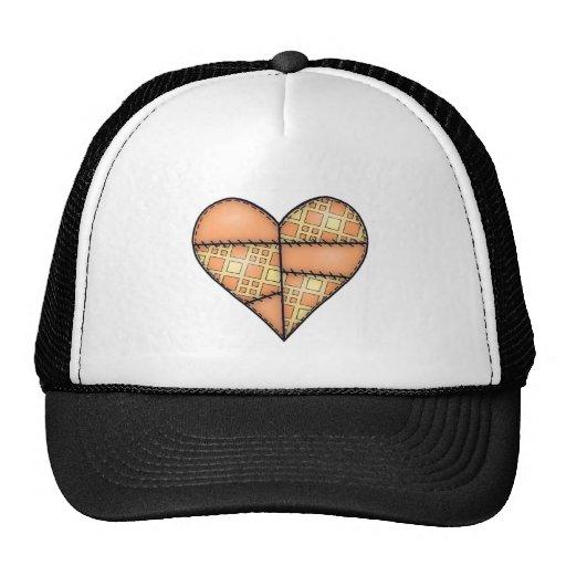 Corazón cosido acolchado rellenado Orange-05 Gorra