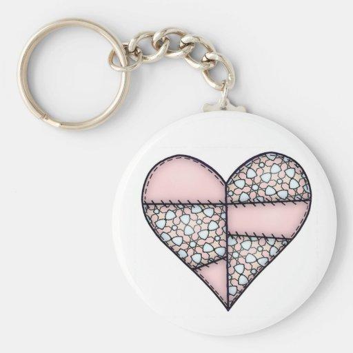 Corazón cosido acolchado rellenado Peach-02 Llavero Redondo Tipo Pin