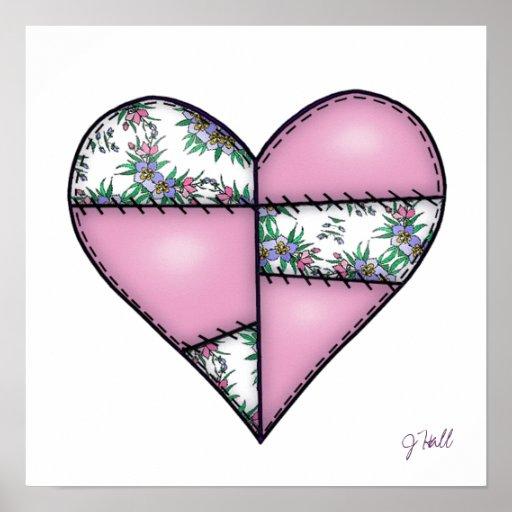 Corazón cosido acolchado rellenado Pink-01 Impresiones