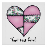 Corazón cosido acolchado rellenado Pink-01 Poster