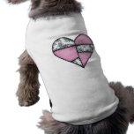 Corazón cosido acolchado rellenado Pink-01 Ropa De Perros