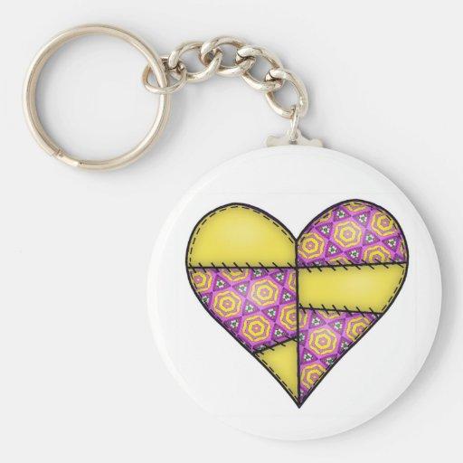 Corazón cosido acolchado rellenado Yellow-04 Llaveros