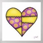 Corazón cosido acolchado rellenado Yellow-04 Posters