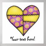 Corazón cosido acolchado rellenado Yellow-04 Impresiones