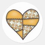 Corazón cosido acolchado rellenado Yellow-06 Etiqueta Redonda