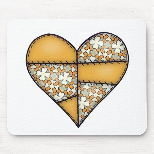 Corazón cosido acolchado rellenado Yellow-06 Alfombrillas De Ratones
