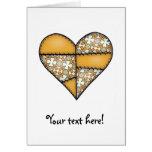 Corazón cosido acolchado rellenado Yellow-06 Felicitaciones
