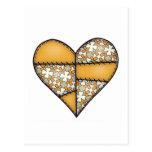 Corazón cosido acolchado rellenado Yellow-06 Tarjeta Postal