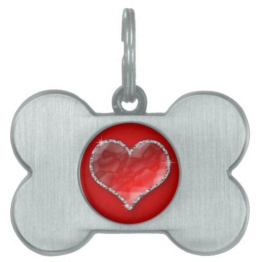 Corazón cristalino placas mascota