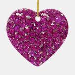 Corazón cristalino rosado 2 ornamentos para reyes magos