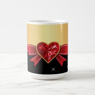 Corazón cristalino taza de café