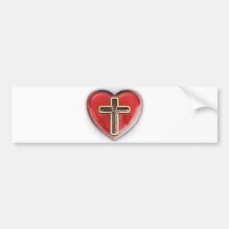 Corazón cristiano etiqueta de parachoque