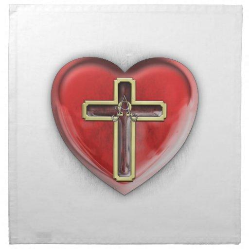 Corazón cristiano servilleta imprimida