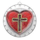 Corazón cristiano tablero de dardos