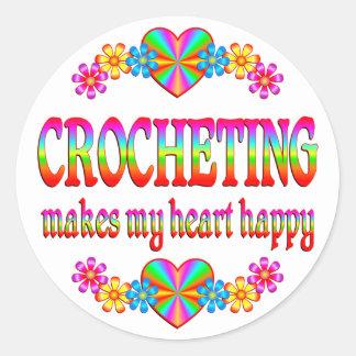 Corazón Crocheting feliz Pegatina Redonda