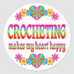 Corazón Crocheting feliz Pegatinas Redondas