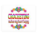 Corazón Crocheting feliz Postal