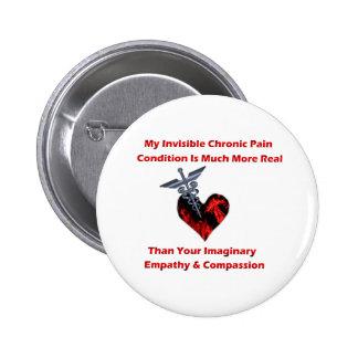 Corazón crónico invisible del rojo del dolor pin
