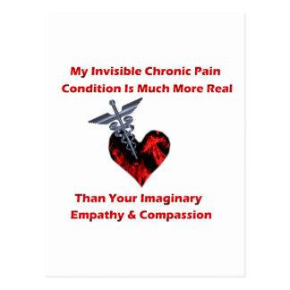 Corazón crónico invisible del rojo del dolor tarjeta postal