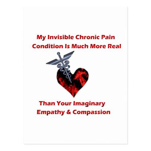 Corazón crónico invisible del rojo del dolor tarjetas postales