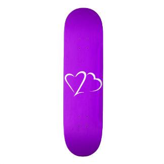 """Corazón cubierta púrpura y blanca de 23™ del patineta 7 1/8"""""""