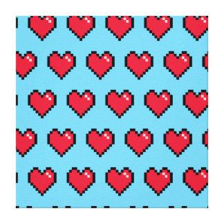 Corazón de 8 bits del pixel del rojo azul lienzo envuelto para galerías