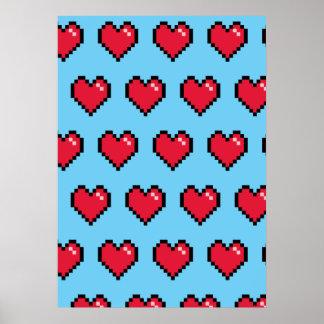 Corazón de 8 bits del pixel del rojo azul poster