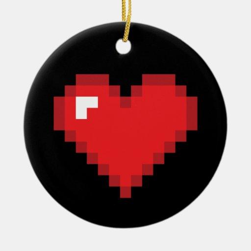 Corazón de 8 pedazos adorno navideño redondo de cerámica