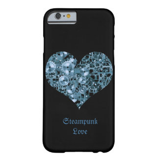 Corazón de acero de los dientes azules del amor de funda de iPhone 6 barely there