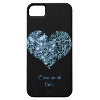 Corazón de acero de los dientes azules del amor de iPhone 5 Case-Mate protectores